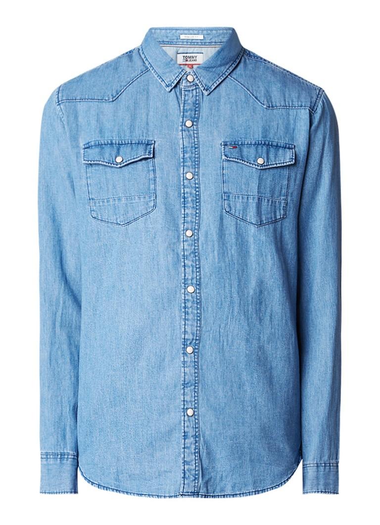 Tommy Hilfiger Regular fit denim overhemd met drukknoopsluiting