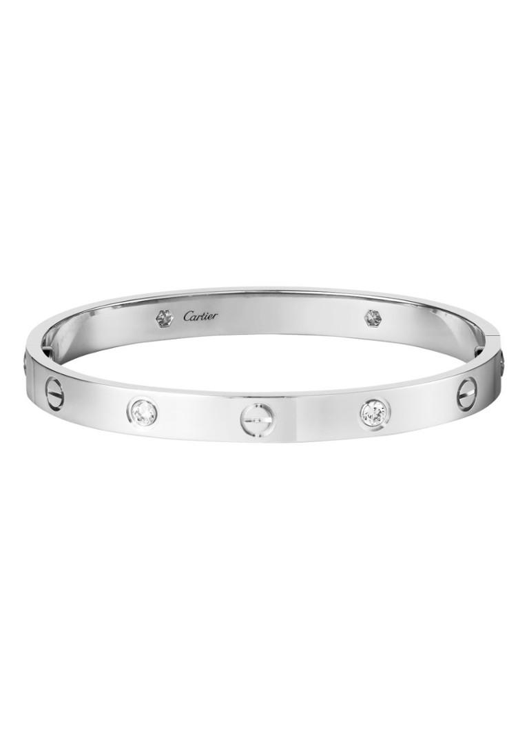 Cartier Love armband van 18k witgoud met 4 diamanten B6035800