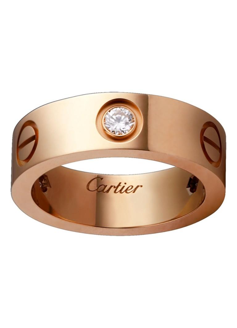 Cartier Love ring van 18k rosegoud met 3 diamanten B4087500