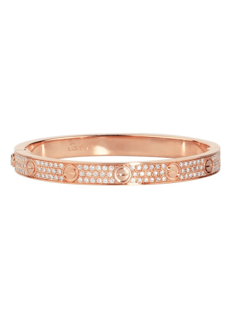 Cartier Love armband van 18k rosegoud met diamanten N6036900