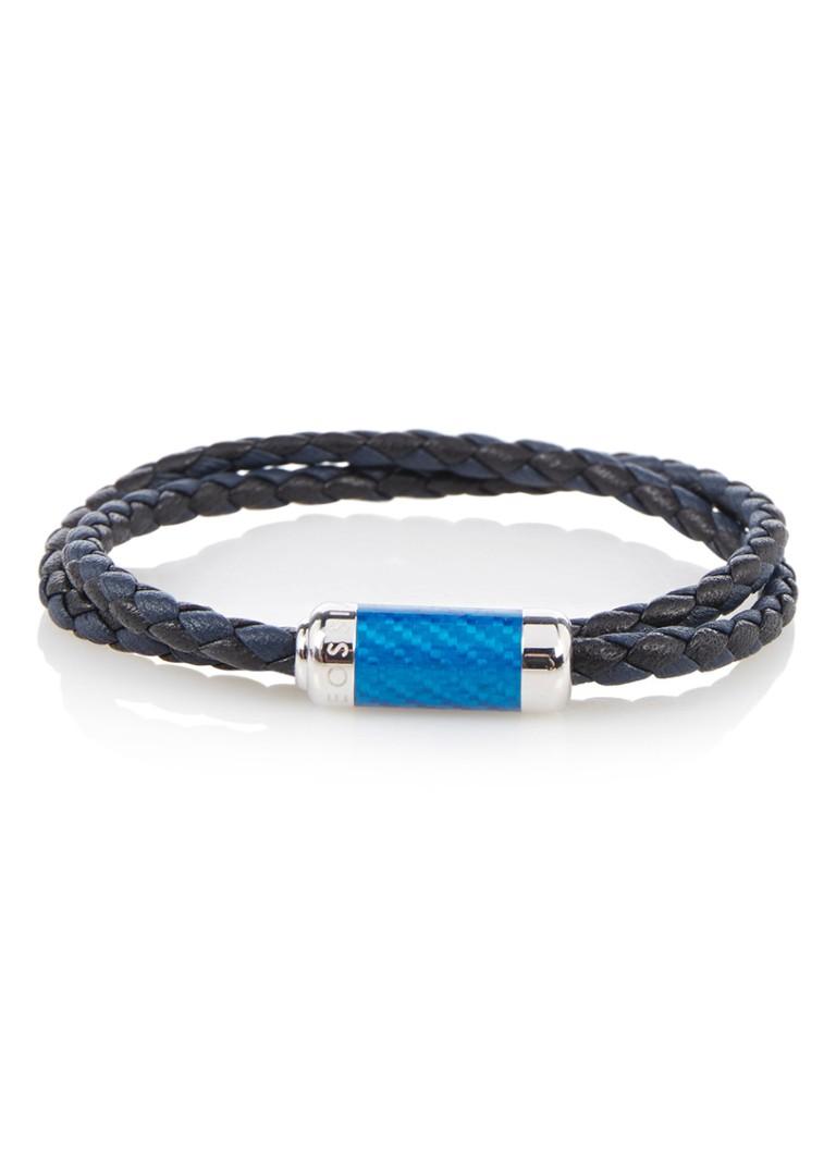 Tateossian Double Navy armband van leer BL5781