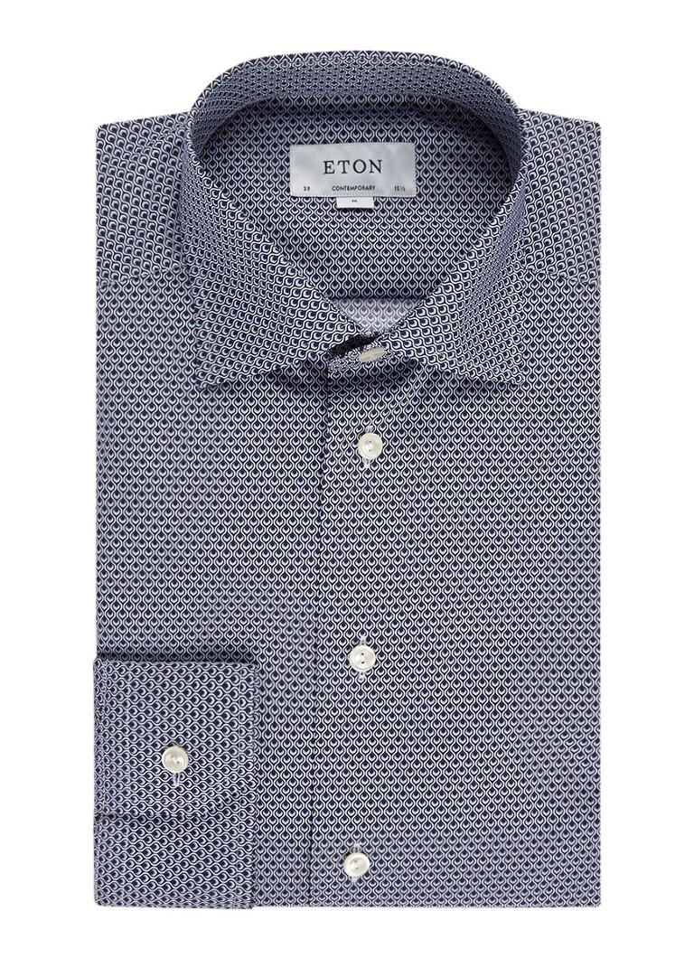 Overhemden Eton Contemporary fit overhemd met all over dessin Donkerblauw