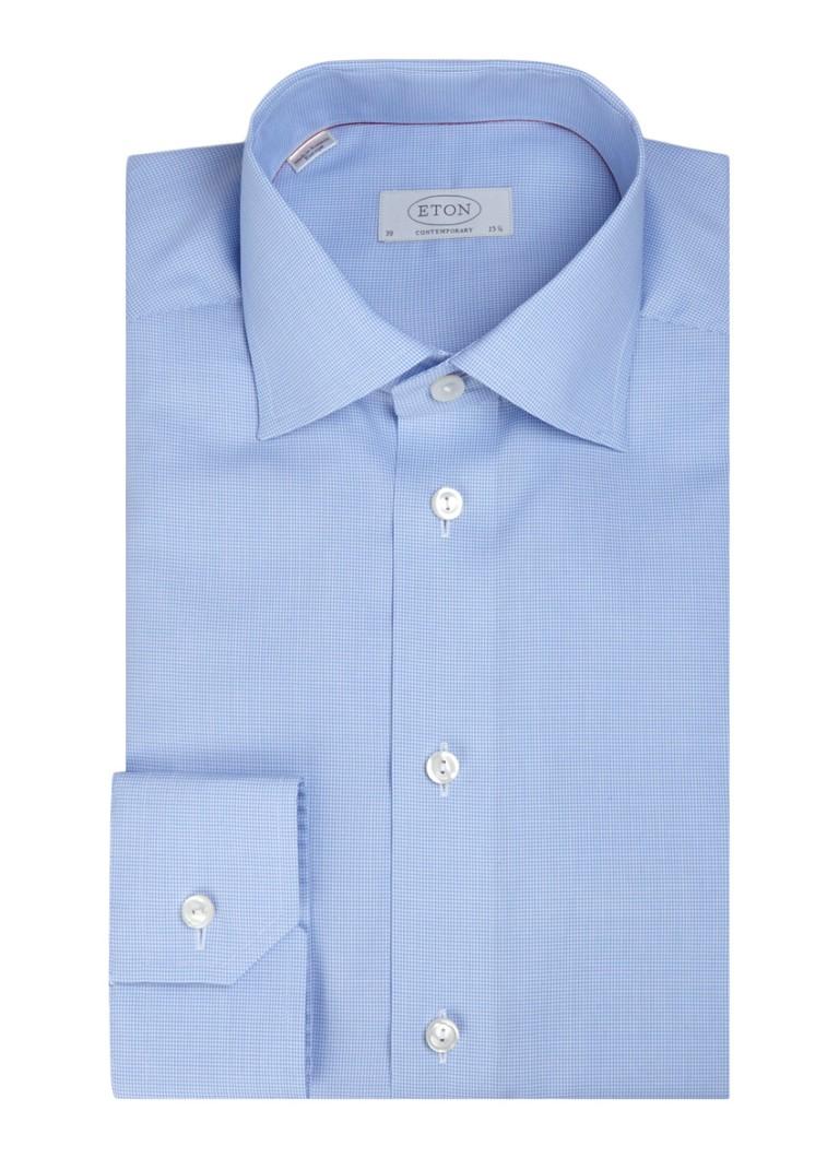Eton Contemporary fit overhemd met pied-de-poulemotief