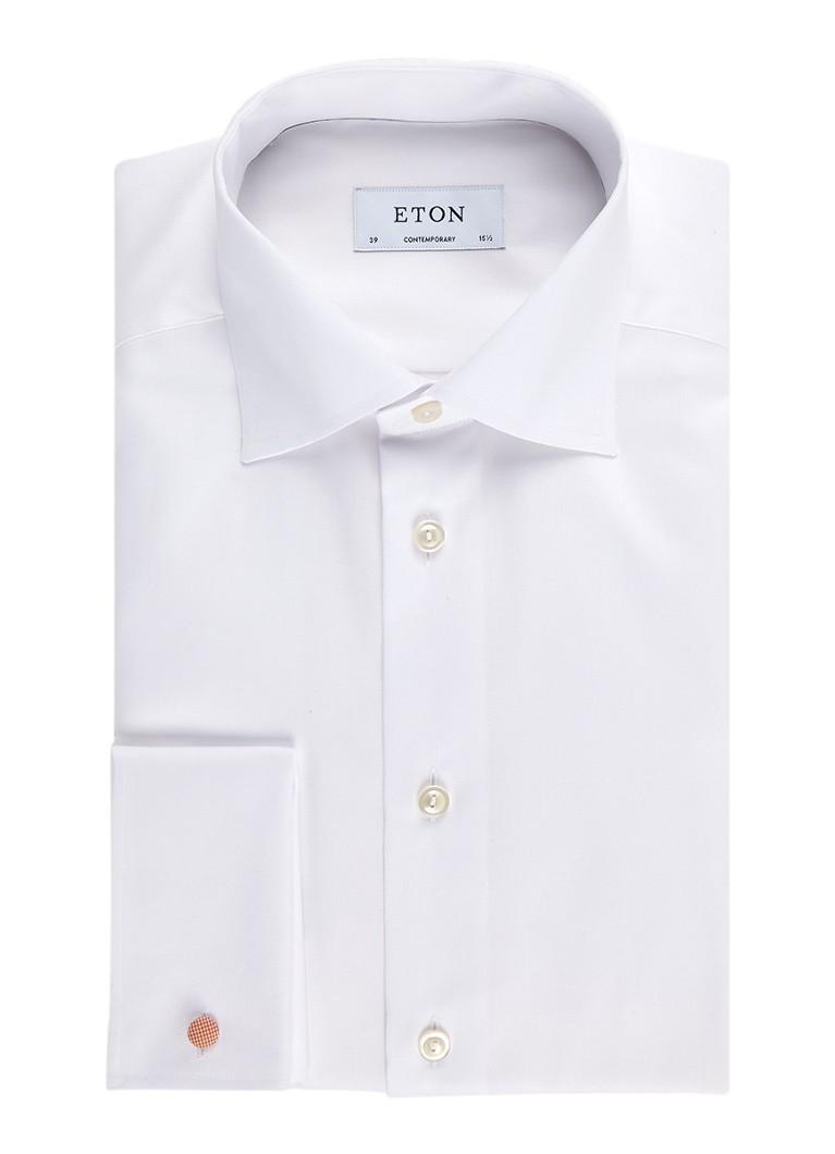 Eton Strijkvrij overhemd met cut away-kraag en dubbele manchet