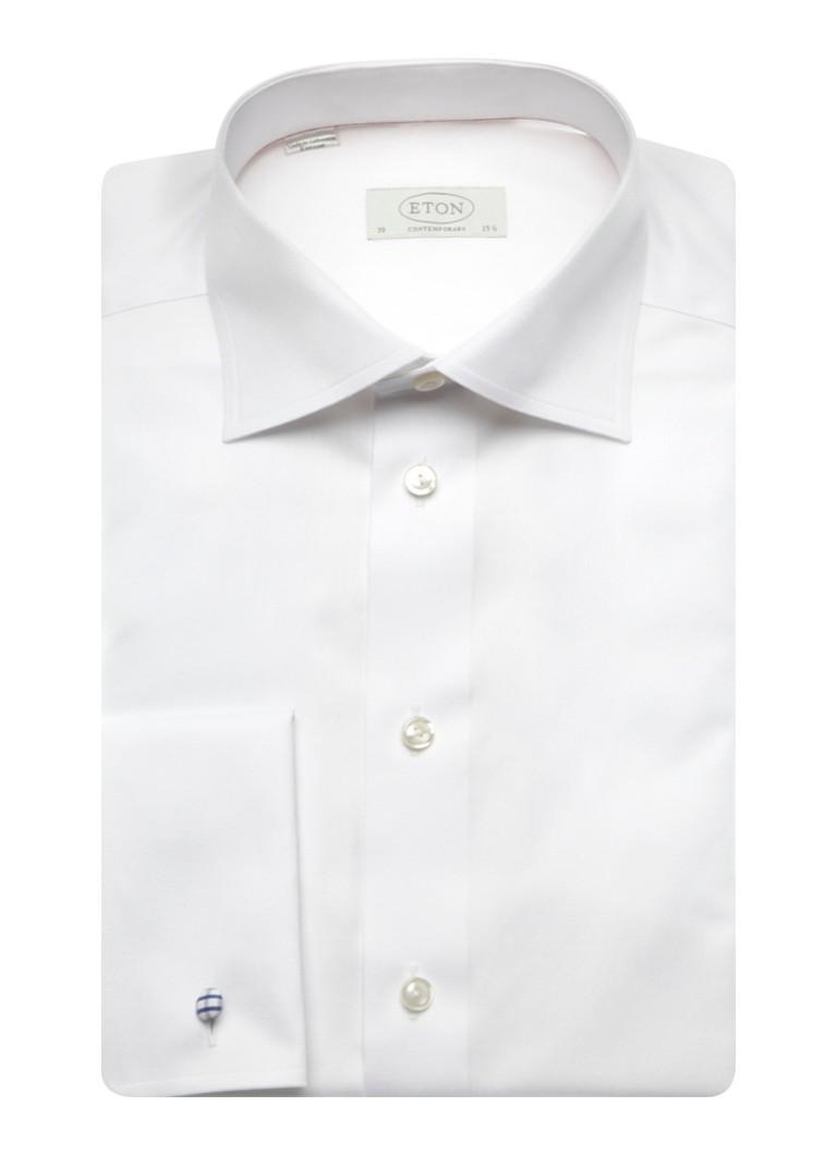 Eton Strijkvrij overhemd met cut away kraag en dubbele manchet