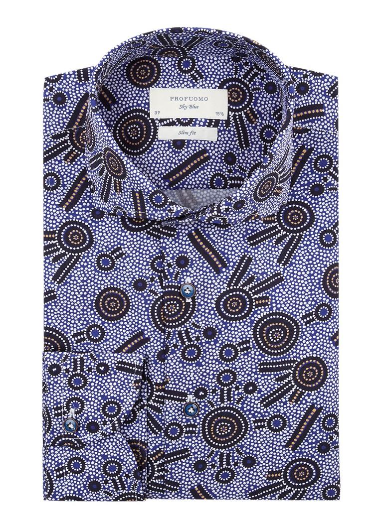 Profuomo Slim fit overhemd met grafisch dessin