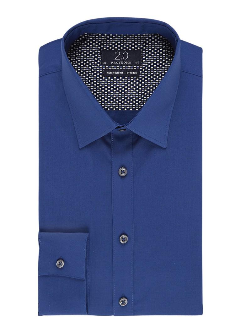 Profuomo Super slim fit overhemd met stretch en Kent-kraag