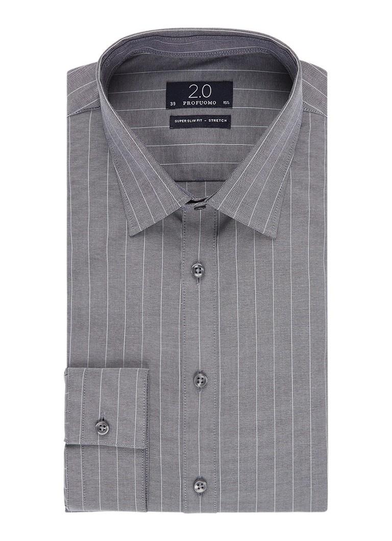 Profuomo Super slim fit overhemd met krijtstreep