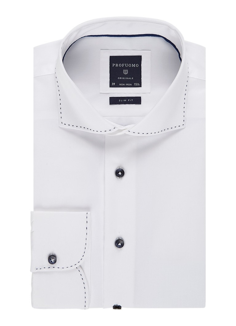Profuomo Slim fit strijkvrij overhemd