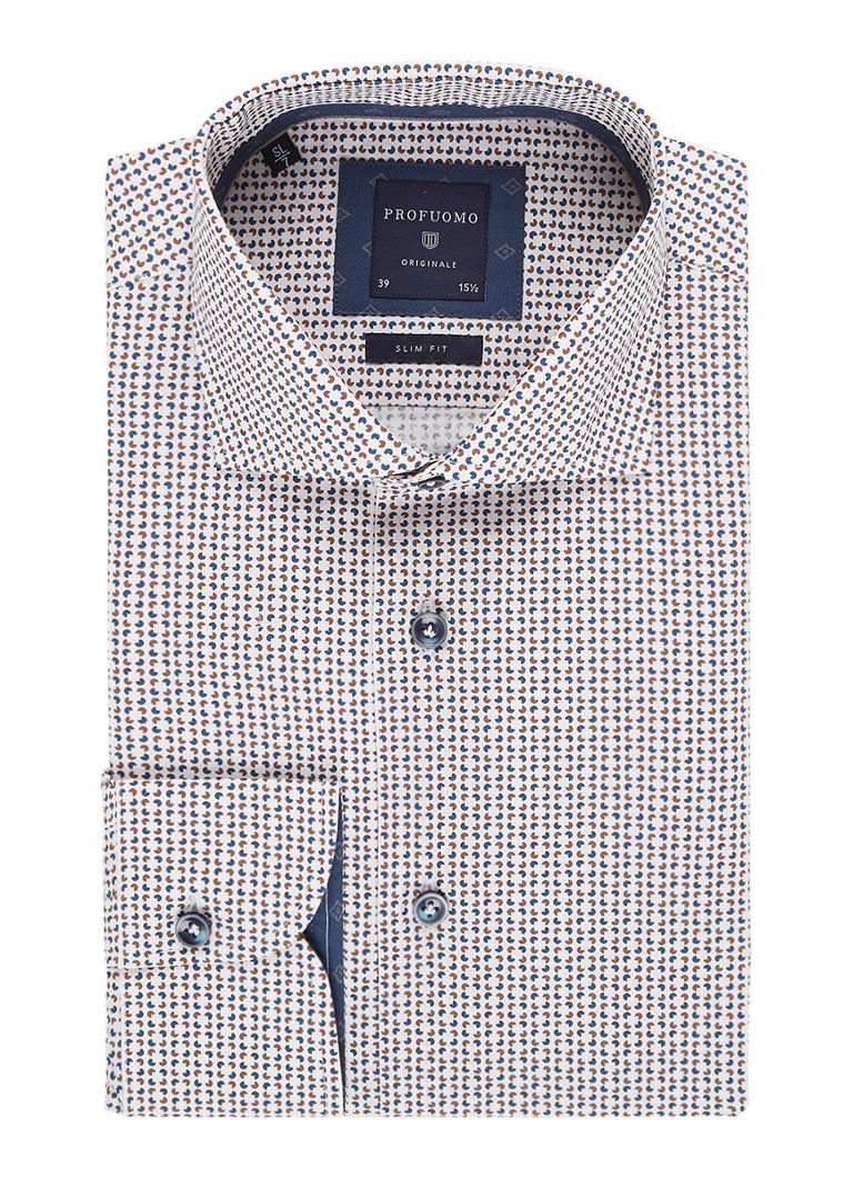 Profuomo Slim fit overhemd met grafisch dessin en extra lange mouw
