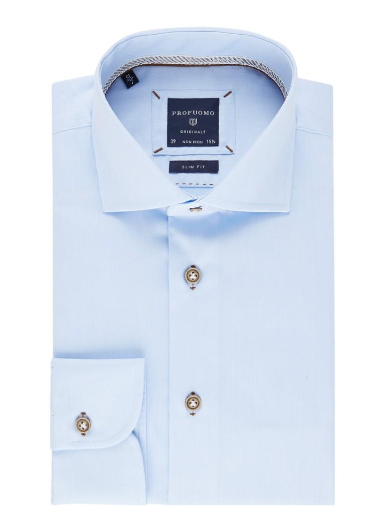 Profuomo Slim fit overhemd met contrasterende knopen