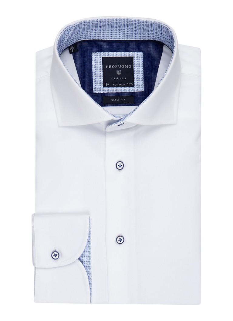 Profuomo Strijkvrij slim fit overhemd met contrasterende knopen