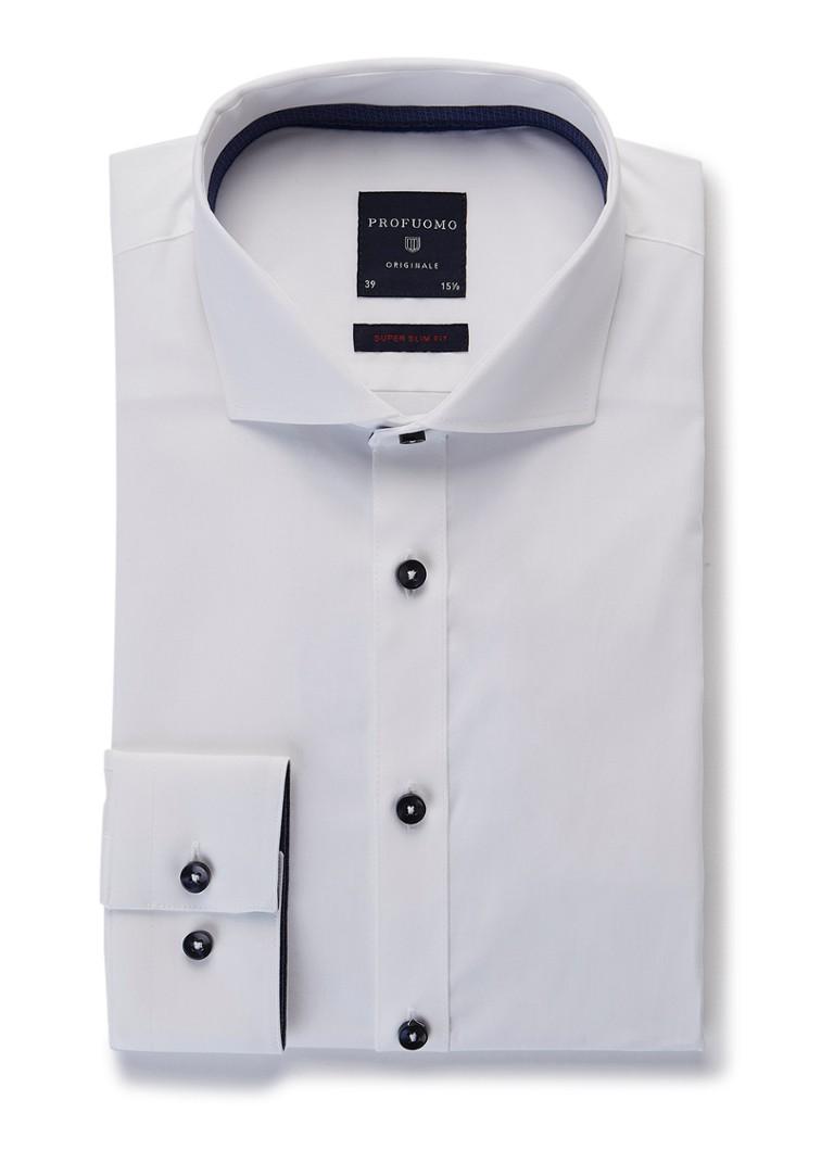 Profuomo Super slim fit overhemd van katoen met contrasterende knopen