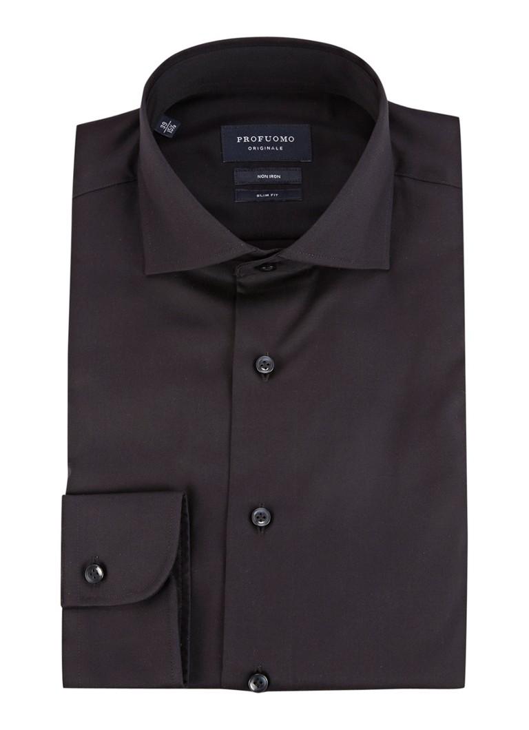 Profuomo Slim fit strijkvrij overhemd in zwart, extra lange mouwen