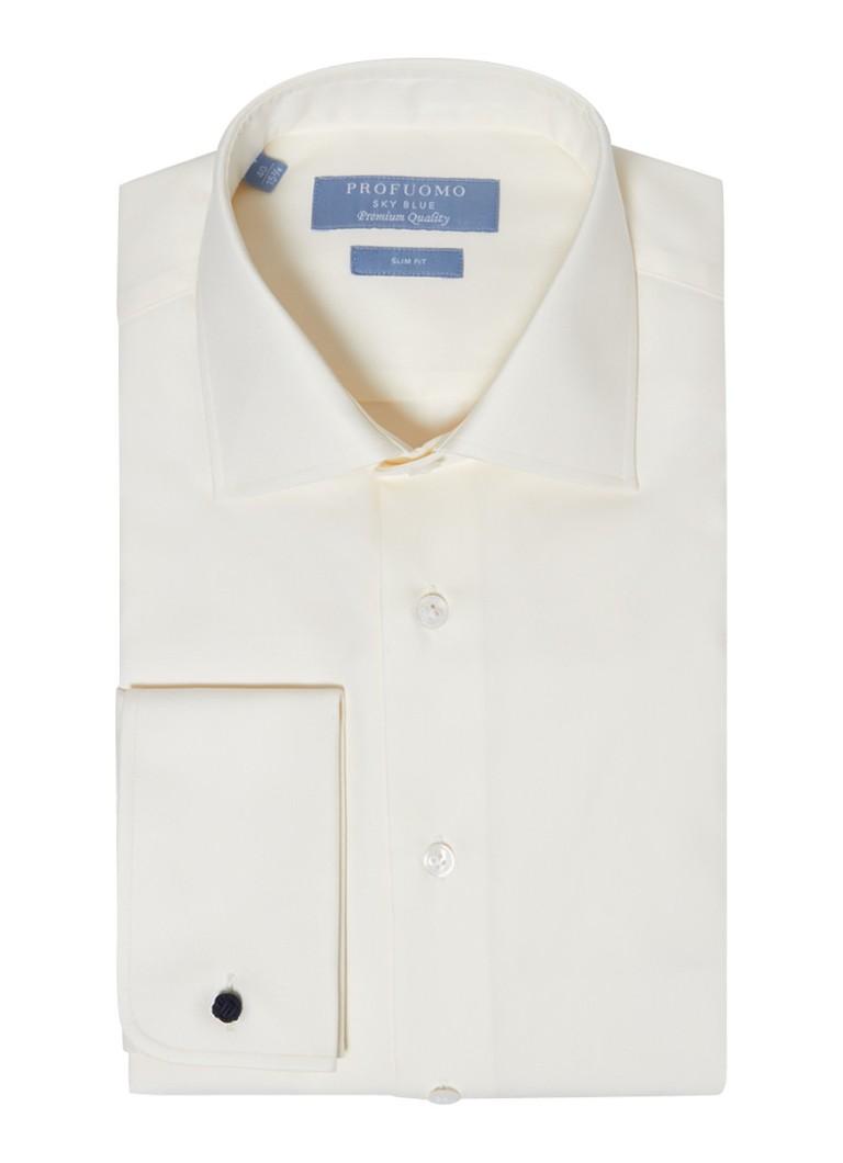 Profuomo Slim fit overhemd van hoogwaardig katoen in gebroken wit