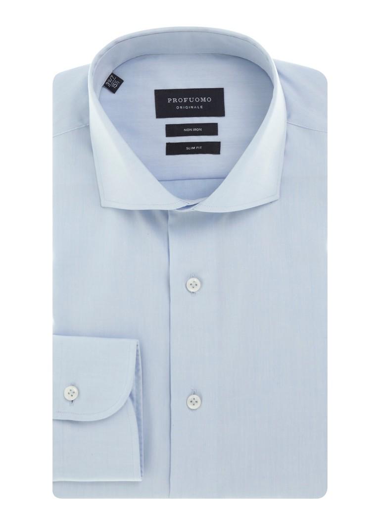 Profuomo Strijkvrij slim fit overhemd met extra lange mouw