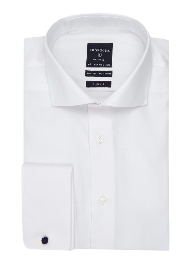 Profuomo Strijkvrij slim fit overhemd met dubbele manchet