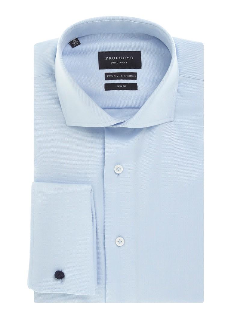 Profuomo Slim fit strijkvrij overhemd met dubbele manchet