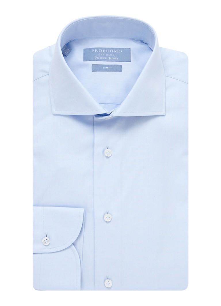 Profuomo Lichtblauw slim fit overhemd met wide spread kraag