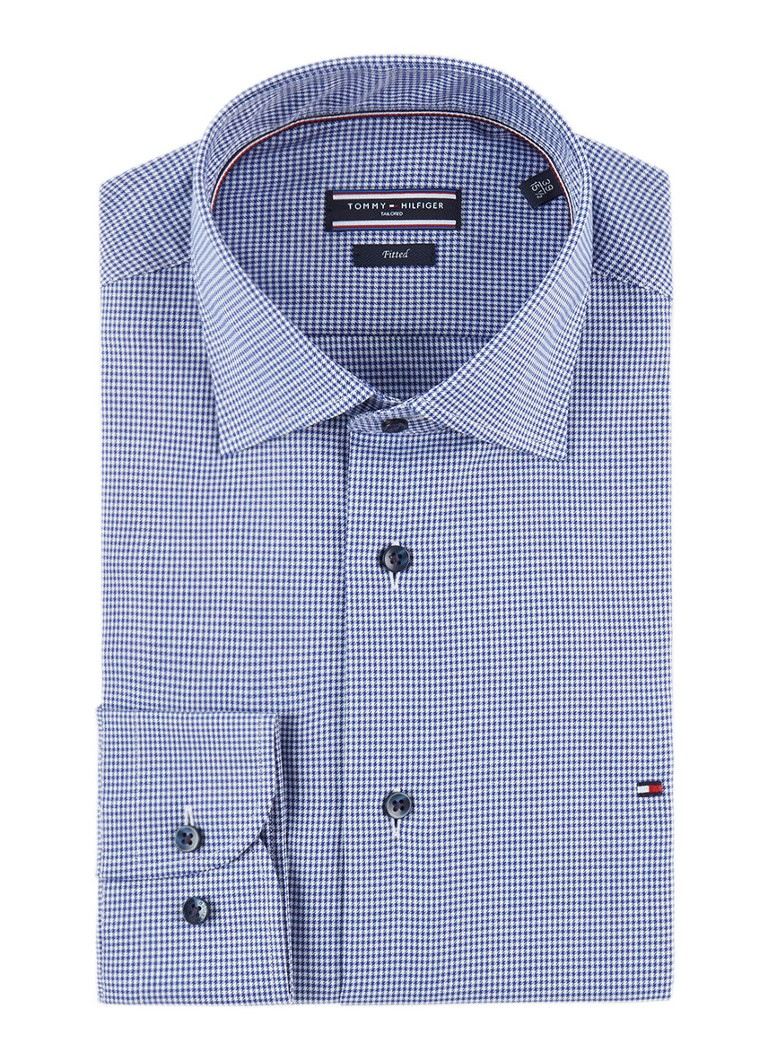 Tommy Hilfiger Fitted overhemd met micro pied-de-poule dessin en extra lange mou