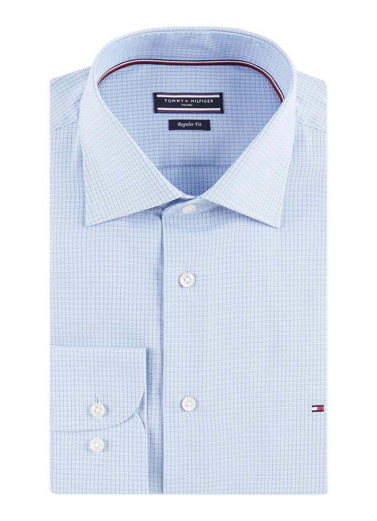 Tommy Hilfiger Regular fit overhemd met logoborduring en micro ruitdessin