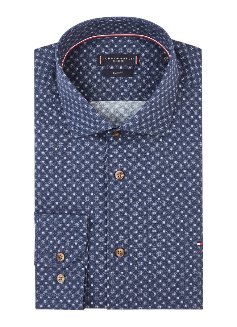 Tommy Hilfiger Classic slim fit easy iron overhemd met dessin