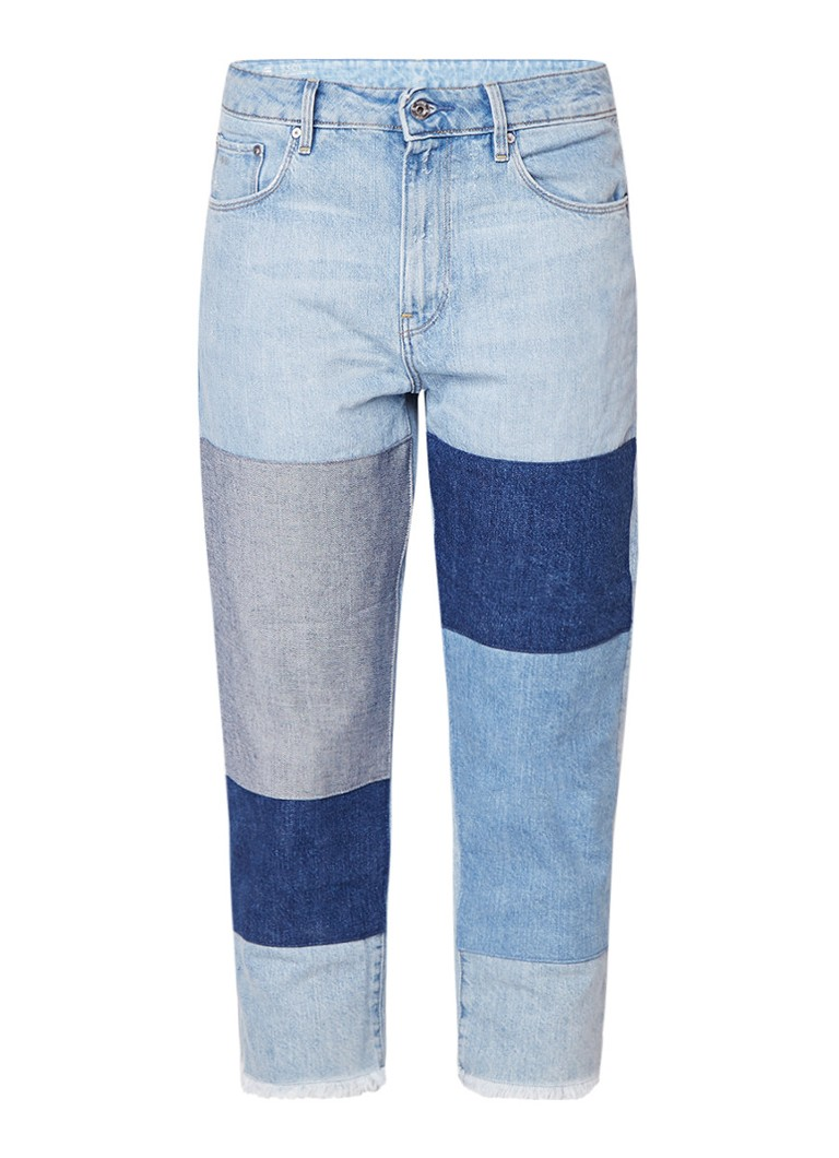 G-Star RAW 3301 cropped boyfriend jeans met patches