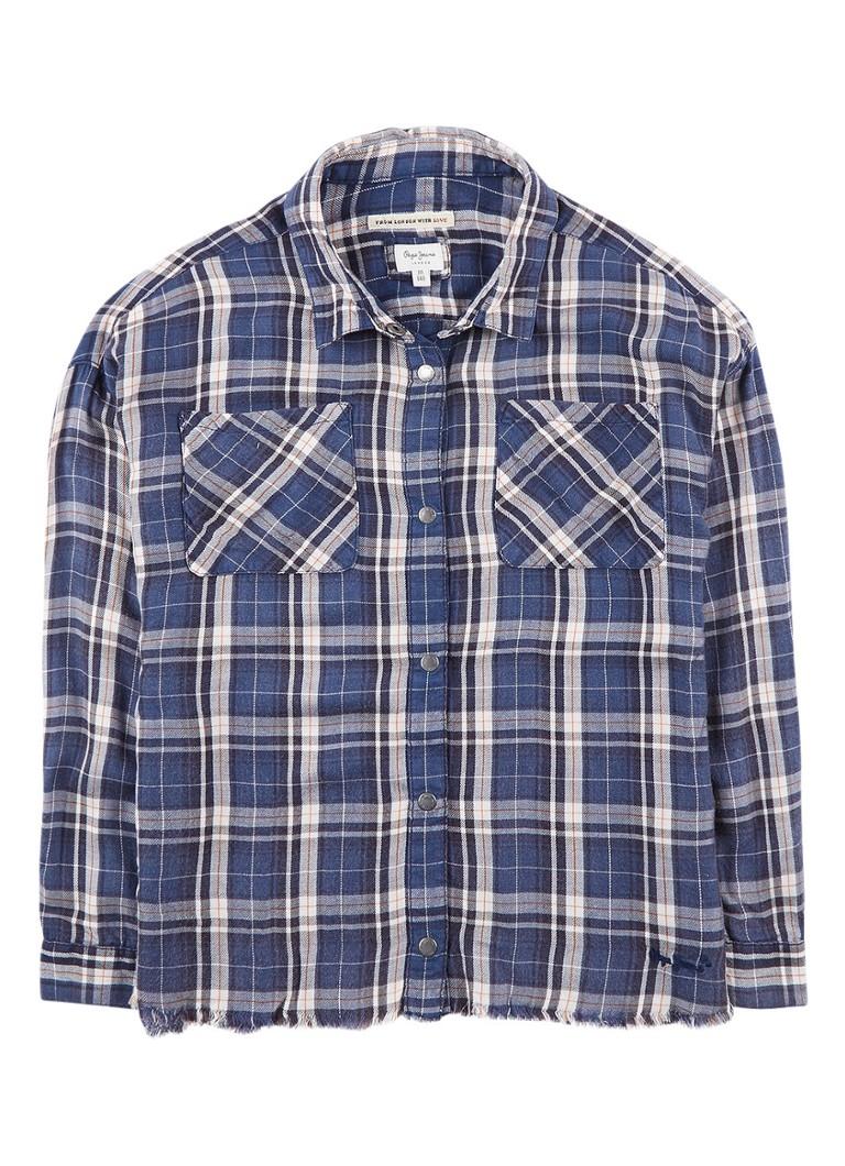Pepe Jeans Tamara blouse met gerafelde zoom en ruitdessin
