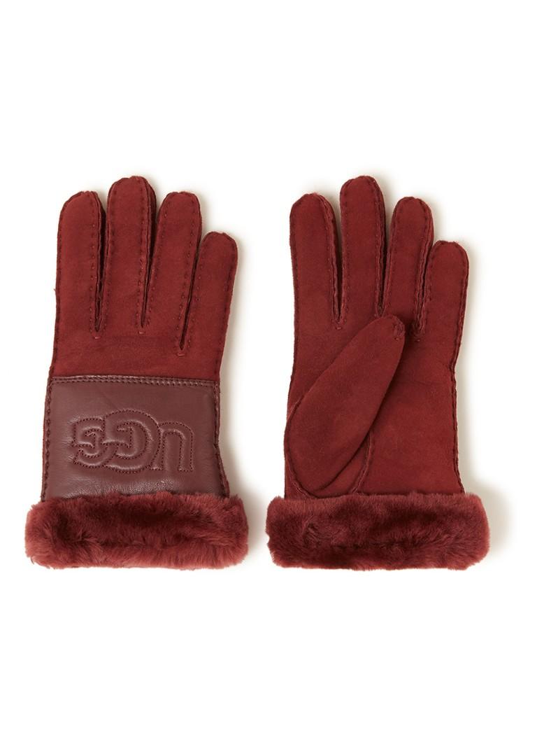 UGG Handschoenen van suede en leer met schapenvacht