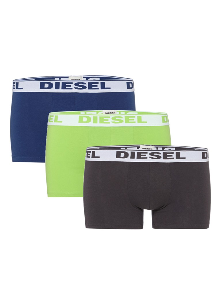 Diesel 3-pack fresh and bright trunk boxershorts in groen donkerblauw en zwart