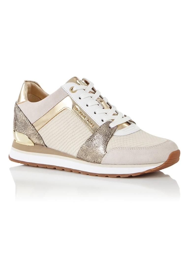 Michael Kors Billie sneaker van suède met metallic details