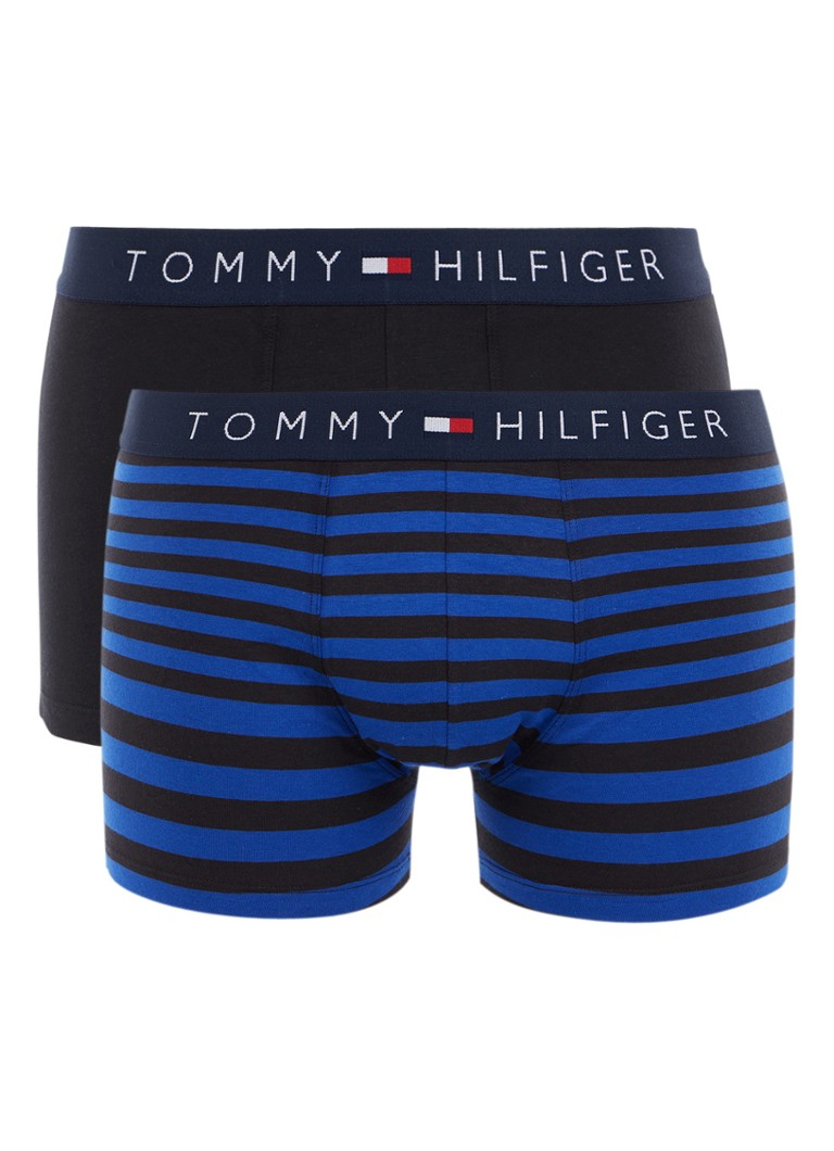 Tommy Hilfiger Boxershorts in uni en streepdessin in 2-pack