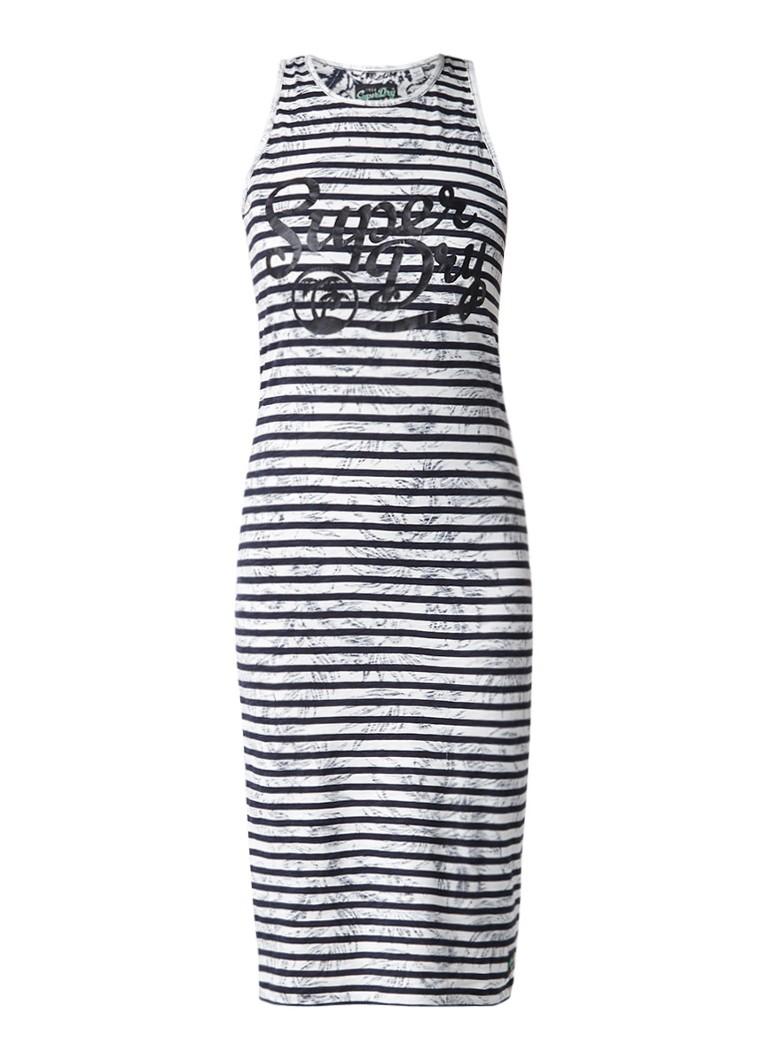 Superdry Lagoon midi-jurk met streepdessin en logoprint donkerblauw