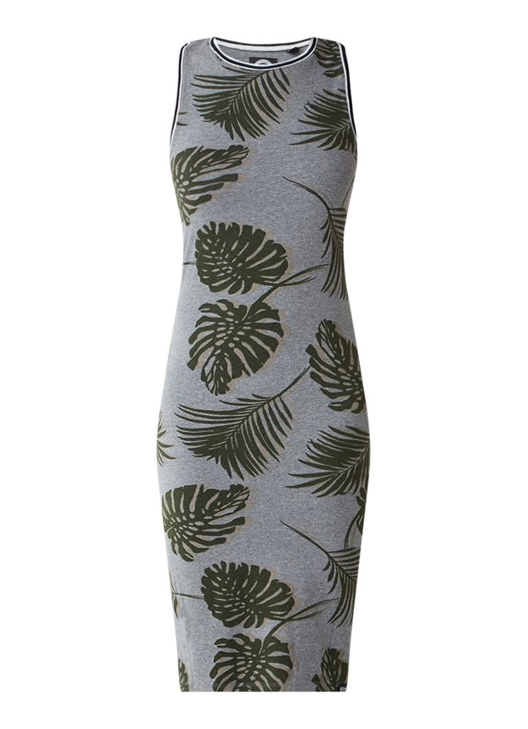 Superdry Jersey midi-jurk met bladdessin grijs