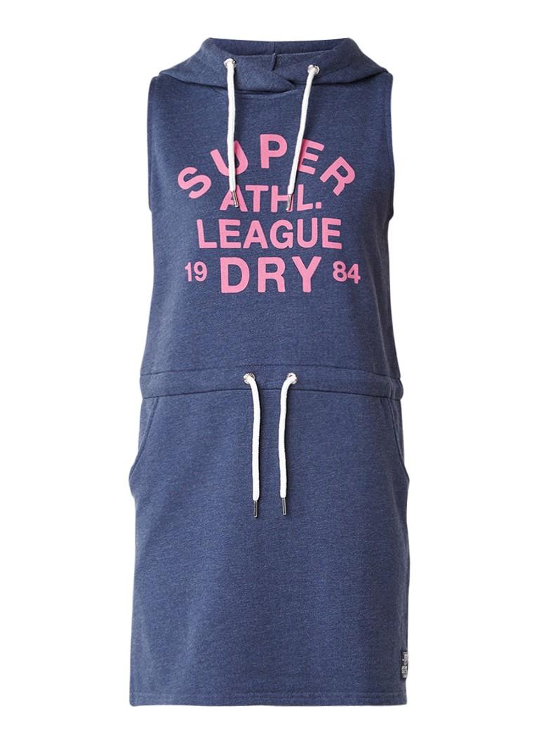 Superdry Sweaterjurk met tunnelkoord en logoprint donkerblauw