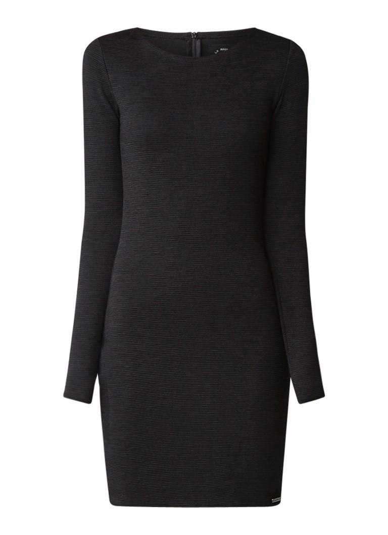 Superdry Augusta bodycon mini jurk met lange mouw zwart