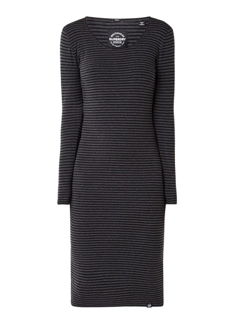 Superdry Midi-jurk in katoenblend met streepdessin antraciet