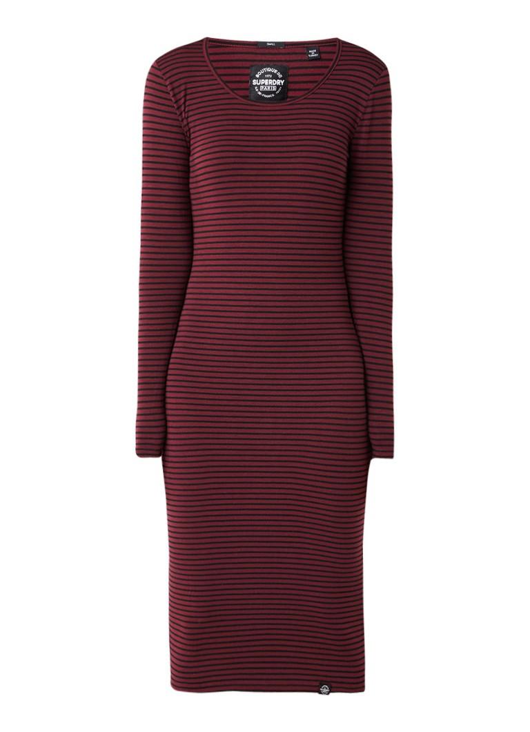 Superdry Midi-jurk met streepdessin bordeauxrood