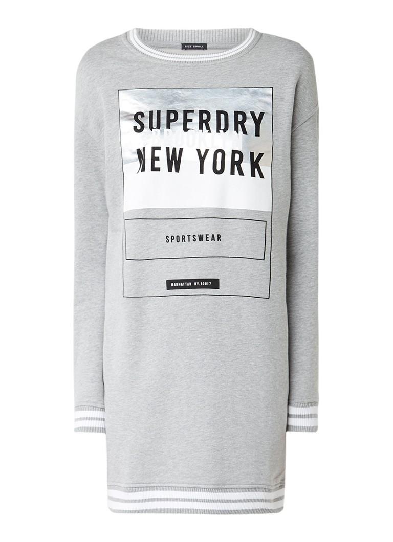 Superdry Sweaterjurk met logoprint en ribgebreide boorden grijsmele