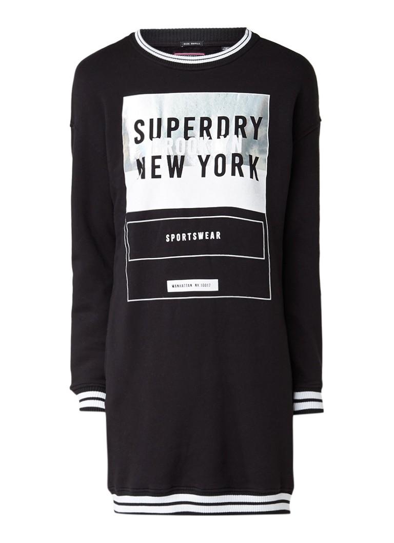 Superdry Sweaterjurk met logoprint en ribgebreide boorden zwart