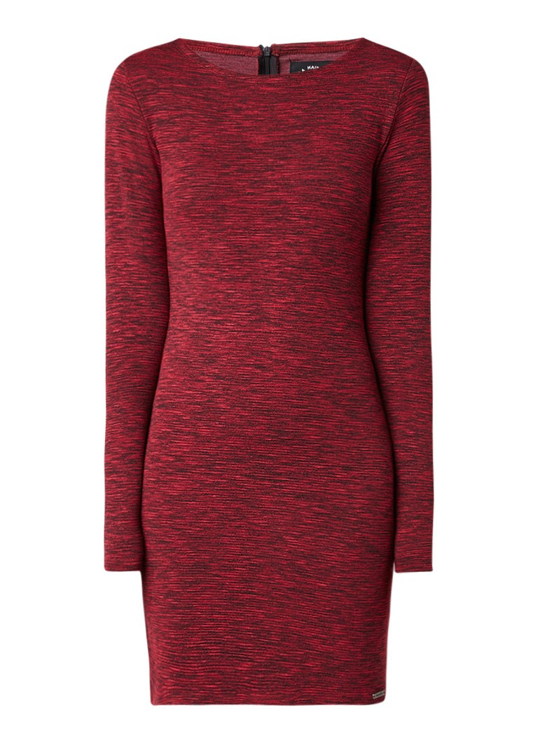Superdry Augusta gemêleerd bodycon jurk bordeauxrood