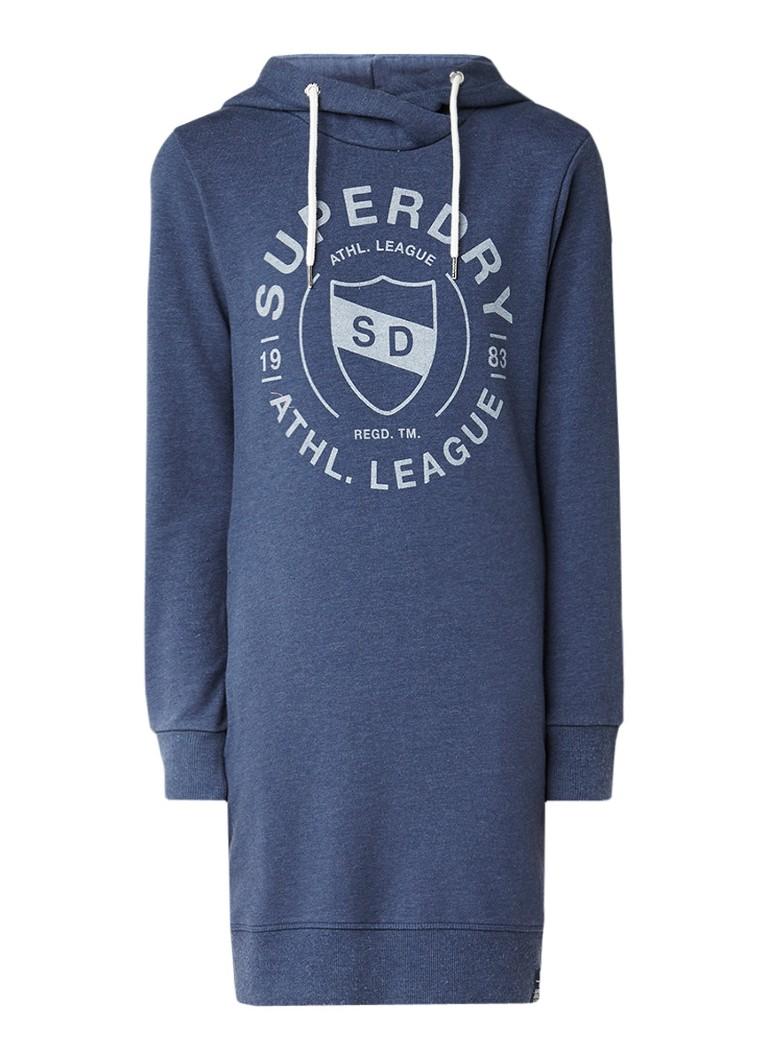 Superdry Gemêleerde sweaterjurk met logoprint blauwgrijs