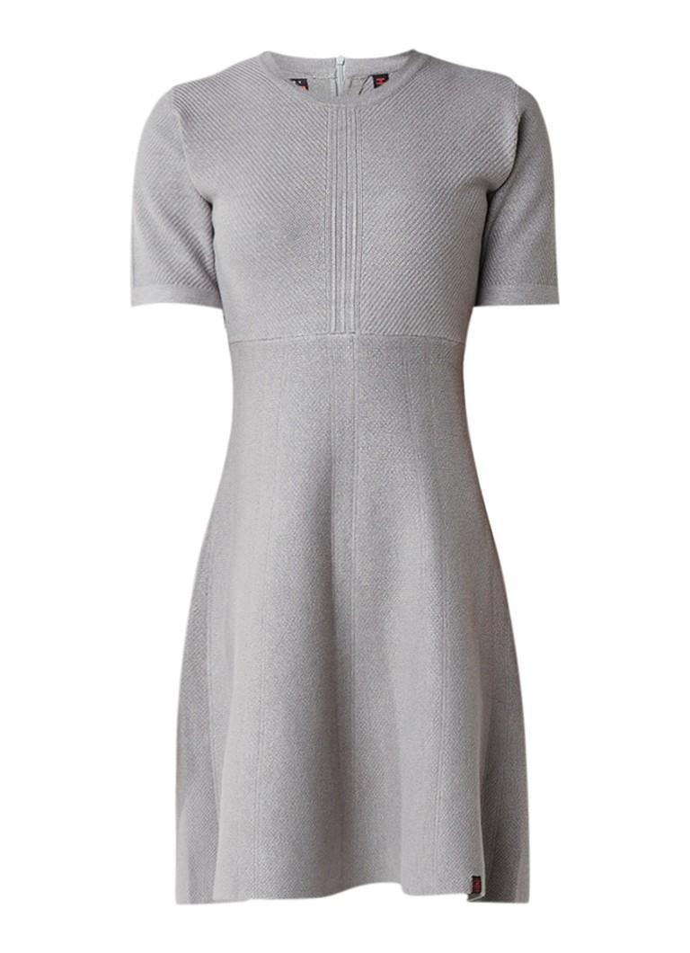Superdry Lexi gebreide A-lijn jurk met siernaad grijs