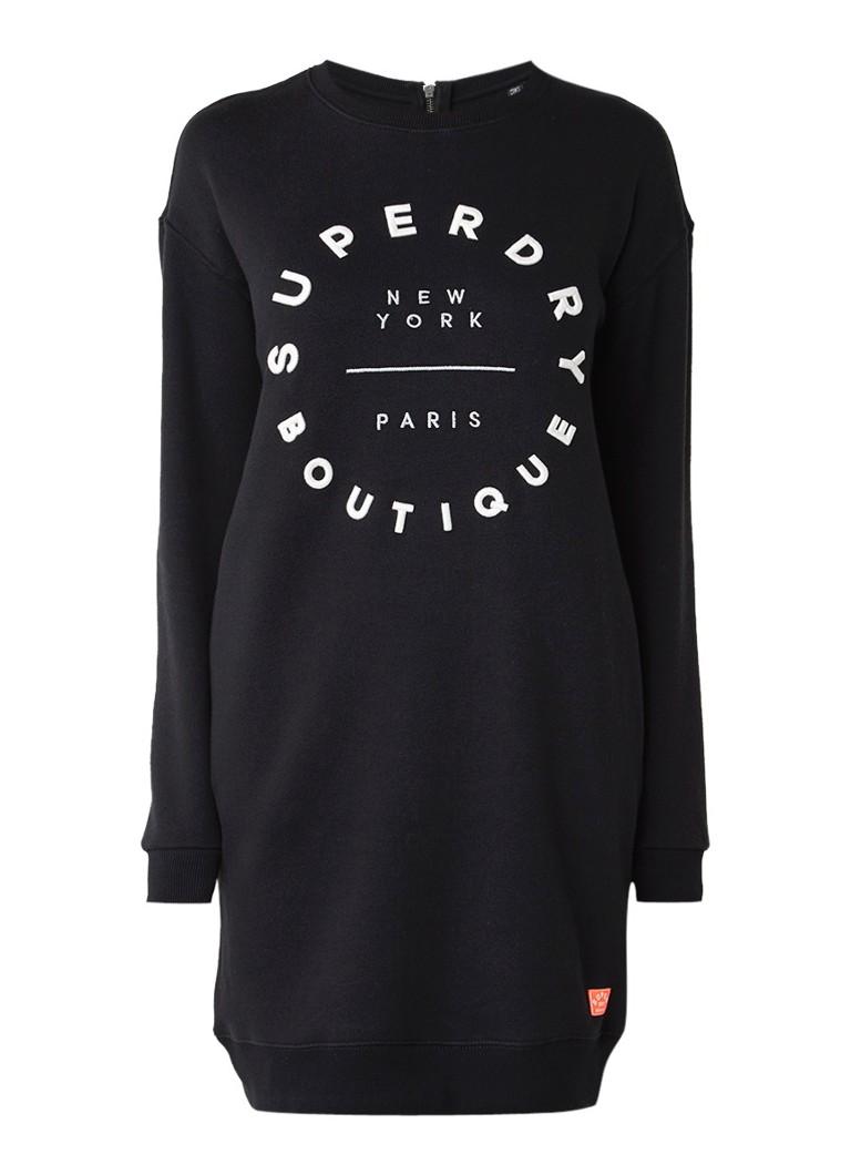 Superdry Sweaterjurk met tekstborduring zwart
