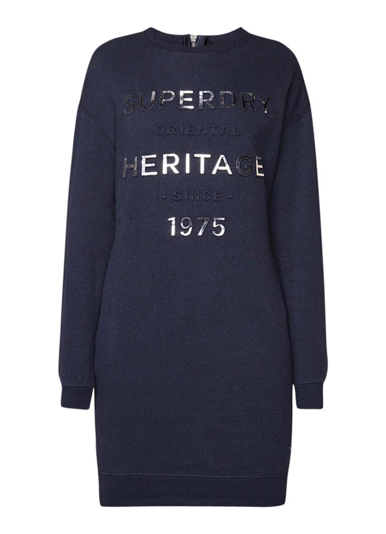 Superdry Iona sweaterjurk met 3D-print en metallic details royalblauw