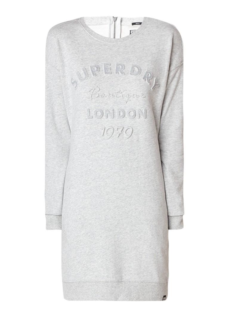 Superdry Gemêleerde sweaterjurk met gestanste logoprint grijsmele