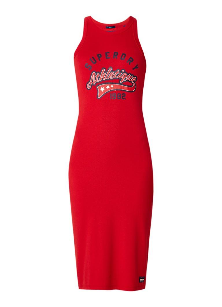 Superdry Jersey jurk met logoprint rood