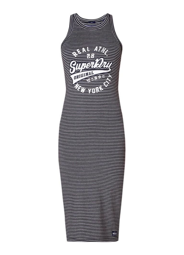 Superdry Pacific jersey jurk met streepdessin grijs