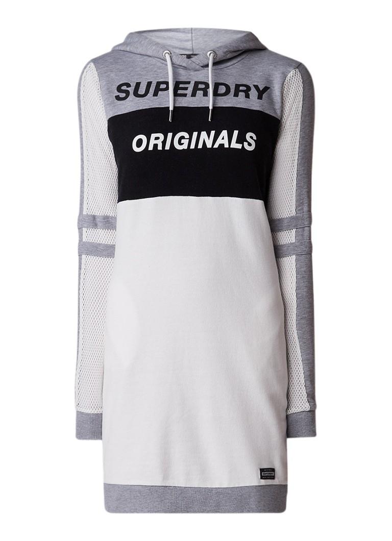 Superdry Sweaterjurk met logoprint en details van mesh wit