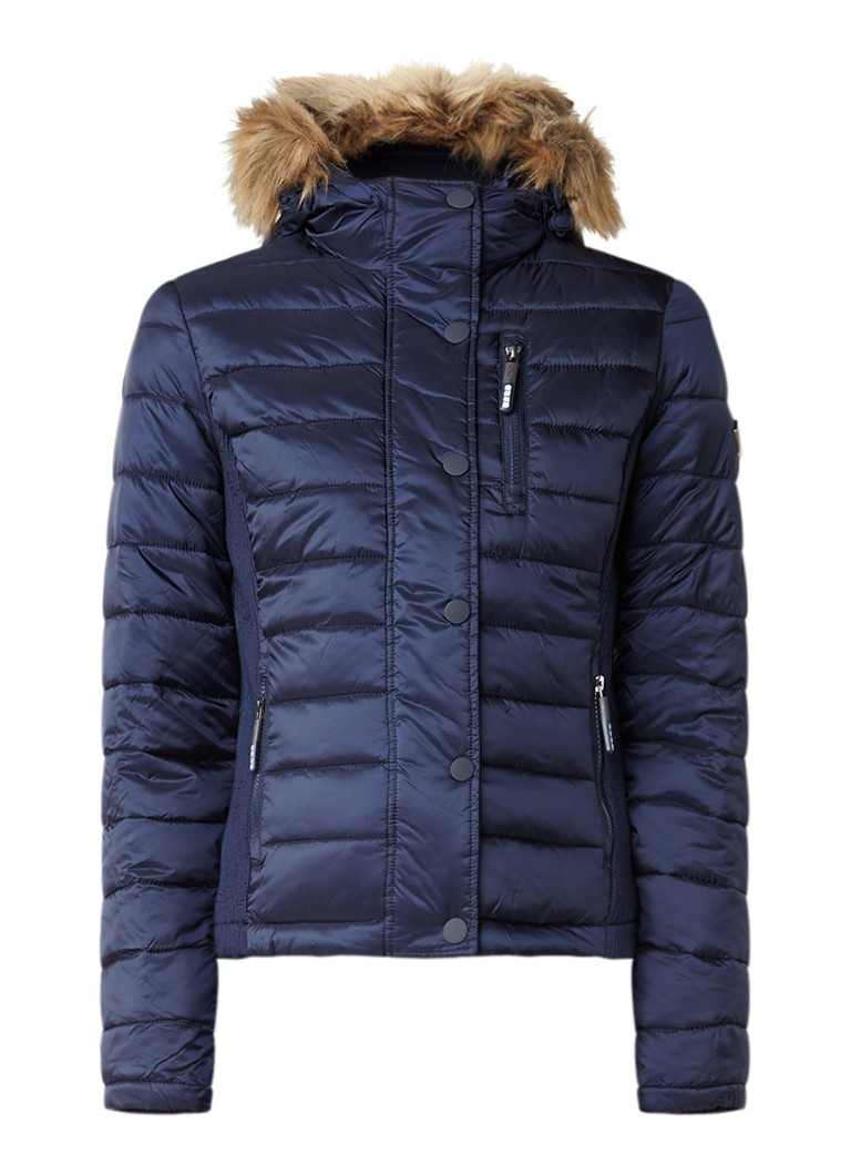 Superdry Luxe Fuji gewatteerd winterjack donkerblauw